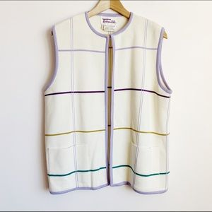 oversize vintage cream pastel checked sweater vest